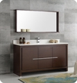 "Fresca FVN8119WG-S Allier 60"" Wenge Brown Modern Single Sink Bathroom Vanity with Mirror"
