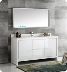 "Fresca FVN8119WH-S Allier 60"" White Modern Single Sink Bathroom Vanity with Mirror"