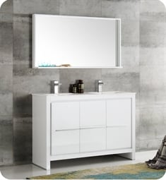 "Fresca FVN8148WH-D Allier 48"" White Modern Double Sink Bathroom Vanity with Mirror"