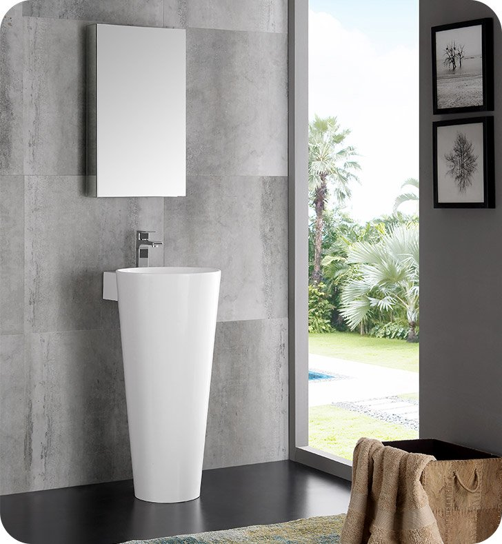 Fresca Fvn5022wh Messina 16 Quot White Pedestal Bathroom Sink