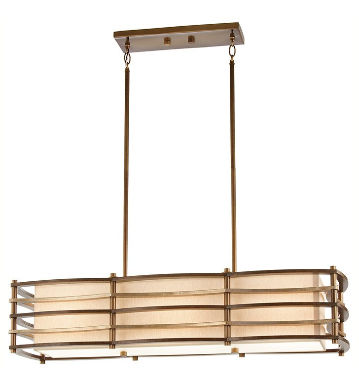 Kichler 42061CMZ Moxie Collection Chandelier Linear 3 Light in Cambridge Bronze