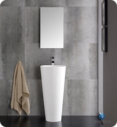 "Messina 16"" White Pedestal Sink with Modern Bathroom Vanity"