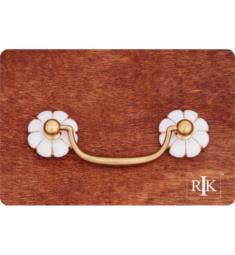 "RK International CP-352 4 1/4"" Porcelain Gold Line Flower Ends Bail Cabinet Pull"
