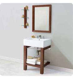 Decolav 2550-8CWH-CGN Infusion Wall Mounted Lavatory Console with Rectangular Mirror and Shelf in Cognac Finish