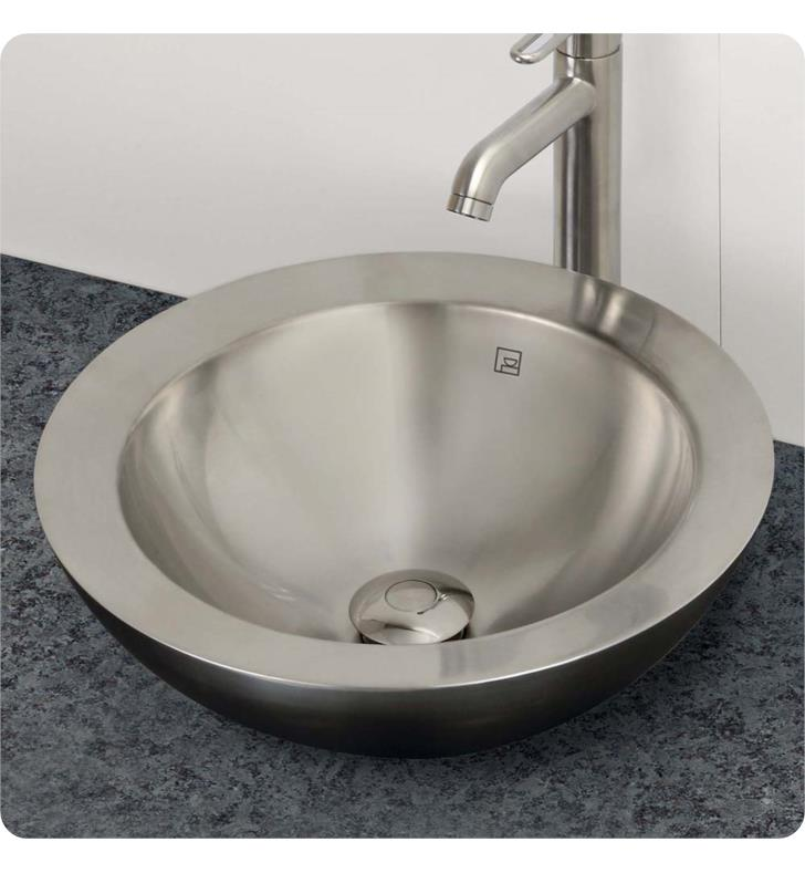 Decolav 1228 P Simply Stainless Round Double Walled Polished Stainless  Steel Vessel Sink With Overflow