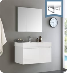 "Fresca FVN8008WH Mezzo 36"" White Wall Hung Modern Bathroom Vanity with Medicine Cabinet"