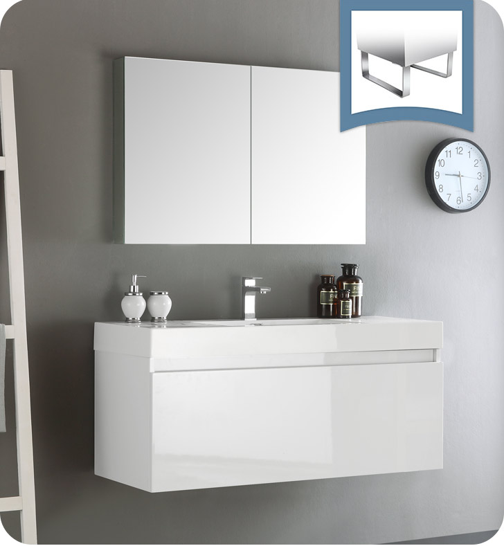 "Fresca FVN8011WH Mezzo 48"" White Wall Hung Modern Bathroom Vanity With Medicine Cabinet"