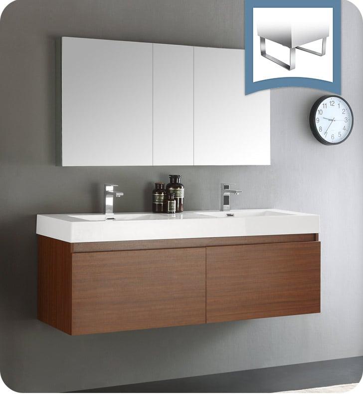 59 bathroom vanity double sink. Fresca FVN8042TK Mezzo 59  Teak Wall Hung Double Sink Modern Bathroom Vanity With Medicine Cabinet