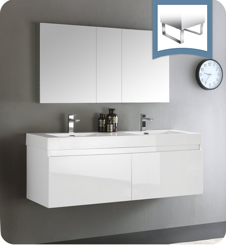 "Fresca FVN8042WH Mezzo 59"" White Wall Hung Double Sink Modern Bathroom Vanity With Medicine Cabinet"