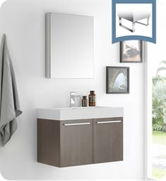 "Fresca FVN8089GO Vista 30"" Gray Oak Wall Hung Modern Bathroom Vanity with Medicine Cabinet"