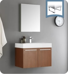 "Fresca FVN8089TK Vista 30"" Teak Wall Hung Modern Bathroom Vanity with Medicine Cabinet"