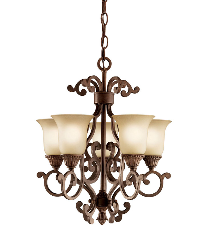 Kichler 2303TZG Larissa Collection Mini Chandelier 5 Light in Tannery Bronze with Gold Accent