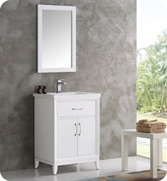 "Fresca FVN2124WH Cambridge 24"" White Traditional Bathroom Vanity with Mirror"