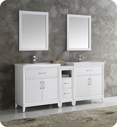 "Fresca FVN21-301230WH Cambridge 72"" White Double Sink Traditional Bathroom Vanity with Mirror"