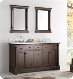 "Fresca FCB2260AC Kingston 61"" Antique Coffee Double Sink Traditional Bathroom Cabinet"
