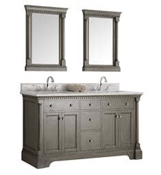 "Fresca FVN2260SA Kingston 61"" Antique Silver Double Sink Traditional Bathroom Vanity with Mirrors"