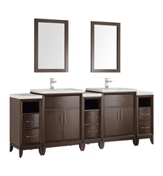 "Fresca FVN21-84AC Cambridge 84"" Antique Coffee Double Sink Traditional Bathroom Vanity with Mirror"
