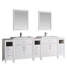 "Fresca FVN21-96WH Cambridge 96"" White Double Sink Traditional Bathroom Vanity with Mirror"