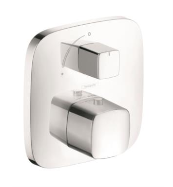 "Hansgrohe 15775401 PuraVida 6 1/8"" Thermostatic Trim with Temperature and Volume Control With Finish: White/Chrome"