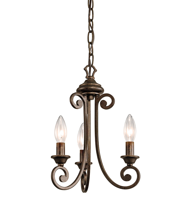 Kichler 43277TRZ Semi Flush Chandelier 3 Light in Terrene Bronze
