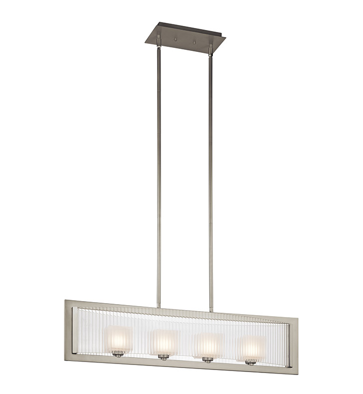 Kichler 43142NI Rigate Collection Chandelier Linear 4 Light Halogen in Brushed Nickel