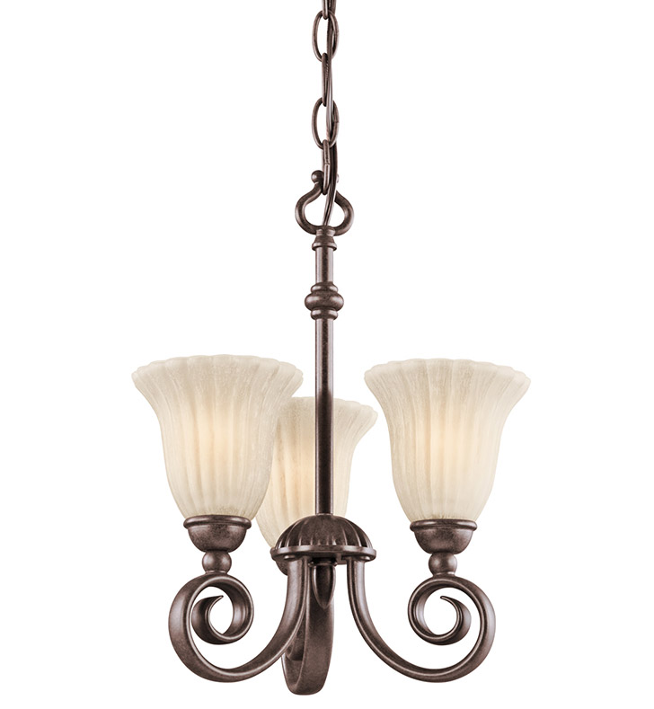 Kichler 3728TZ Willowmore Collection Semi Flush/Chandelier 3 Light in Tannery Bronze