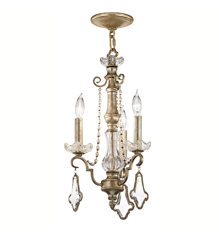 Kichler 42114SRM Gracie Collection Semi Flush Chandelier 3 Light in Sunrise Mist