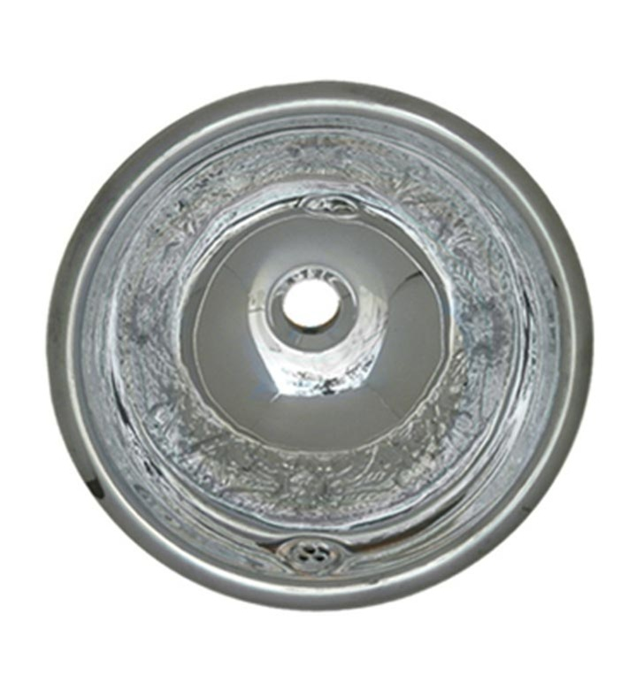 Whitehaus WH602ACF Round Floral Pattern Drop-in Basin with Overflow and Polished Stainless Steel Finish