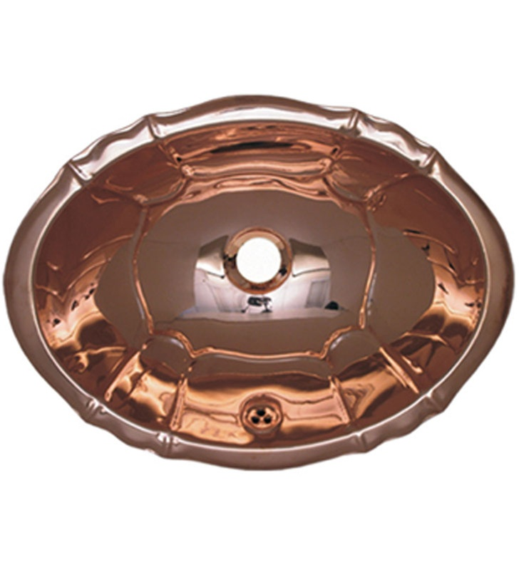 Whitehaus WH612CBL Oval Fluted Design Drop-in Basin with Overflow and Polished Copper Finish