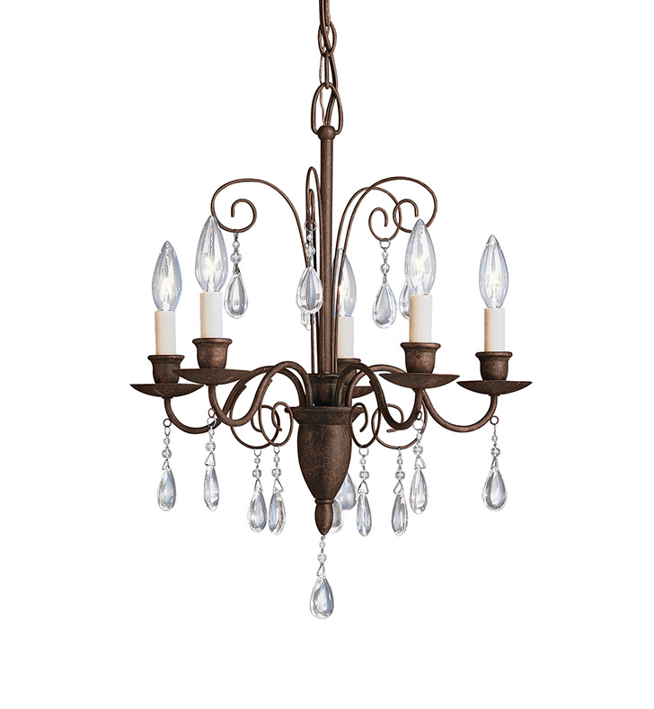 Kichler 1631TZ Barcelona Collection Mini Chandelier 5 Light in Tannery Bronze
