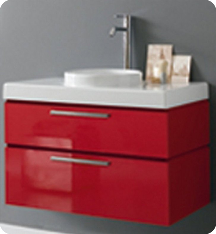 LaToscana 7063-139 Asia 85 Collection Red Modern Bathroom Vanity