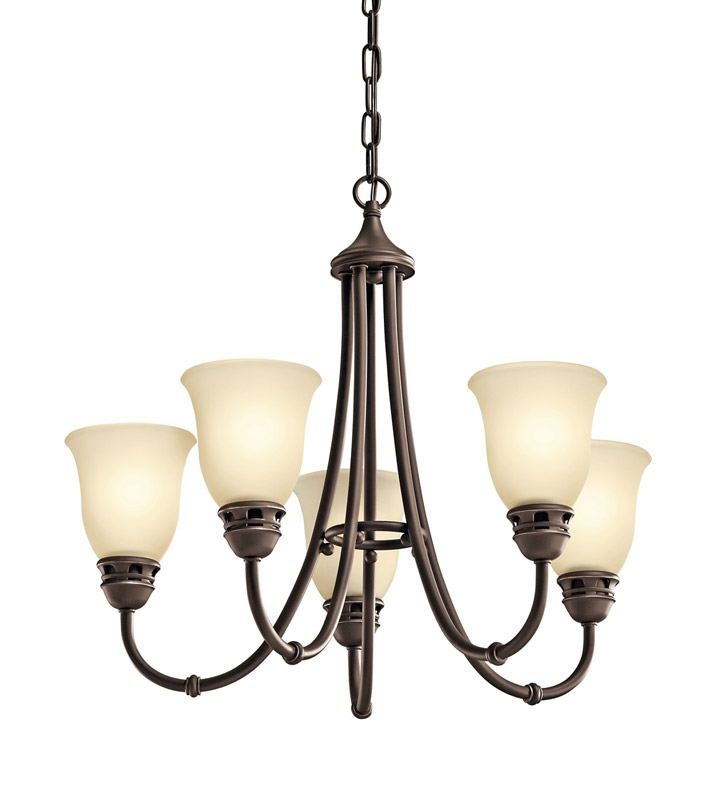 Kichler 42064OZ Durham Collection Chandelier 5 Light in Olde Bronze