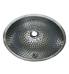 Whitehaus WH608ABM Oval Ball Pein Hammered Textured Undermount Basin with Overflow and Polished Stainless Steel Finish