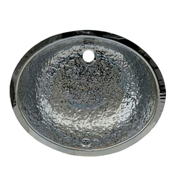 Whitehaus WH920ABB Oval Hammered Textured Undermount Basin with Overflow and Polished Stainless Steel Finish