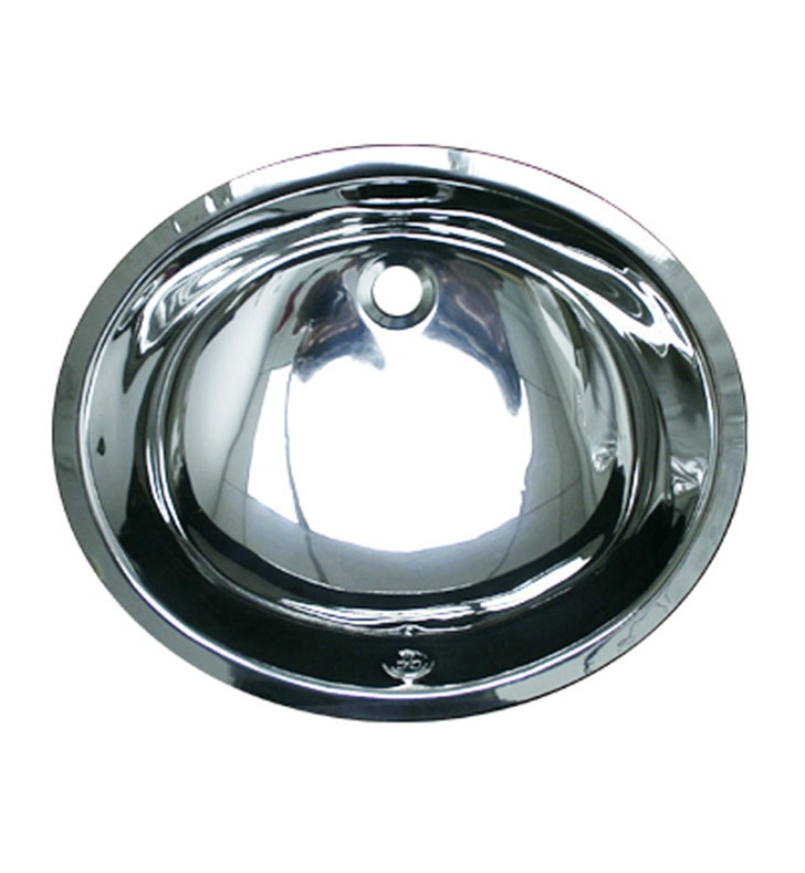 Whitehaus WH920ABL Smooth Oval Undermount Basin with Overflow and Polished Stainless Steel Finish
