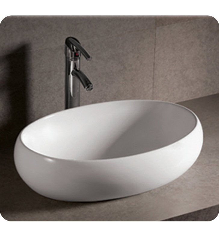 Whitehaus WHKN1091 Oval Above Mount Basin with Center Drain - Isabella Series