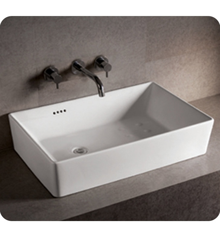 Whitehaus WHKN Rectangular Above Mount Basin With Overflow And - Offset bathroom sink drain