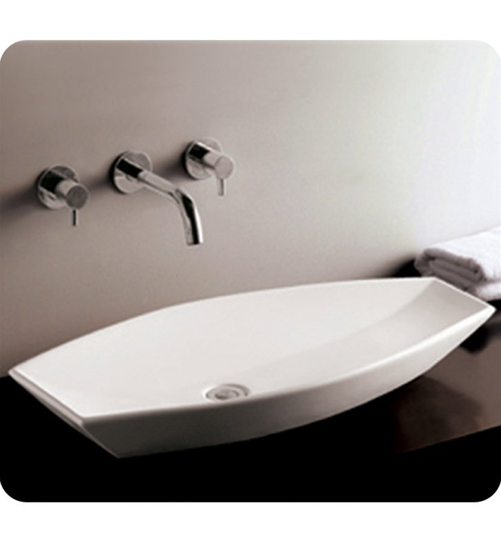 Whitehaus WHKN1086 Oval Above Mount Basin with Offset Center Drain - Isabella Series