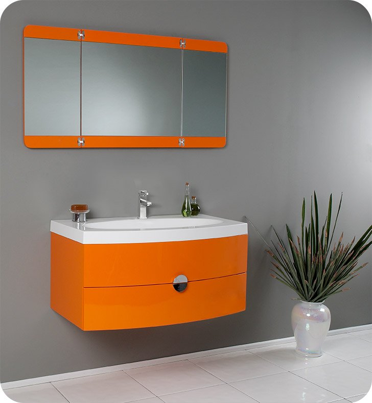 "Fresca FVN5092OR Energia 36"" Orange Modern Bathroom Vanity with Three Panel Folding Mirror"