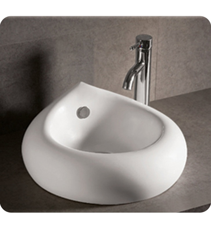 Whitehaus WHKN1073 Teardrop Shaped Above Mount Basin with Overflow and Center Drain - Isabella Series
