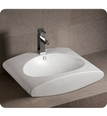 Whitehaus WHKN1098 Rectangular Wall Mount Basin with Integrated Oval Bowl and Rear Center Drain - Isabella Series