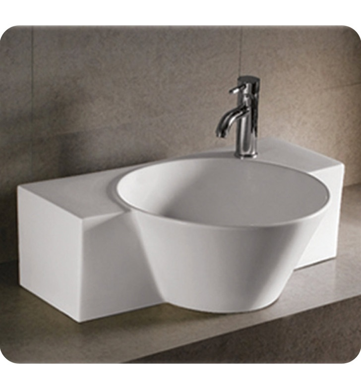Whitehaus WHKN1110 Rectangular Wall Mount Basin with Integrated Round Bowl and Center Drain - Isabella Series