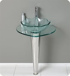 "Fresca FVN1036 Netto 24"" Modern Glass Bathroom Vanity with Wavy Edge Vessel Sink"