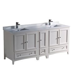 "Fresca FCB20-301230AW-U Oxford 72"" Antique White Traditional Double Sink Bathroom Cabinets with Top & Sinks"