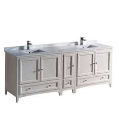 "Fresca FCB20-361236AW-CWH-U Oxford 84"" Antique White Traditional Double Sink Bathroom Cabinets with Top & Sinks"