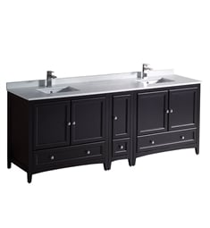 "Fresca FCB20-361236ES-CWH-U Oxford 84"" Espresso Traditional Double Sink Bathroom Cabinets with Top & Sinks"