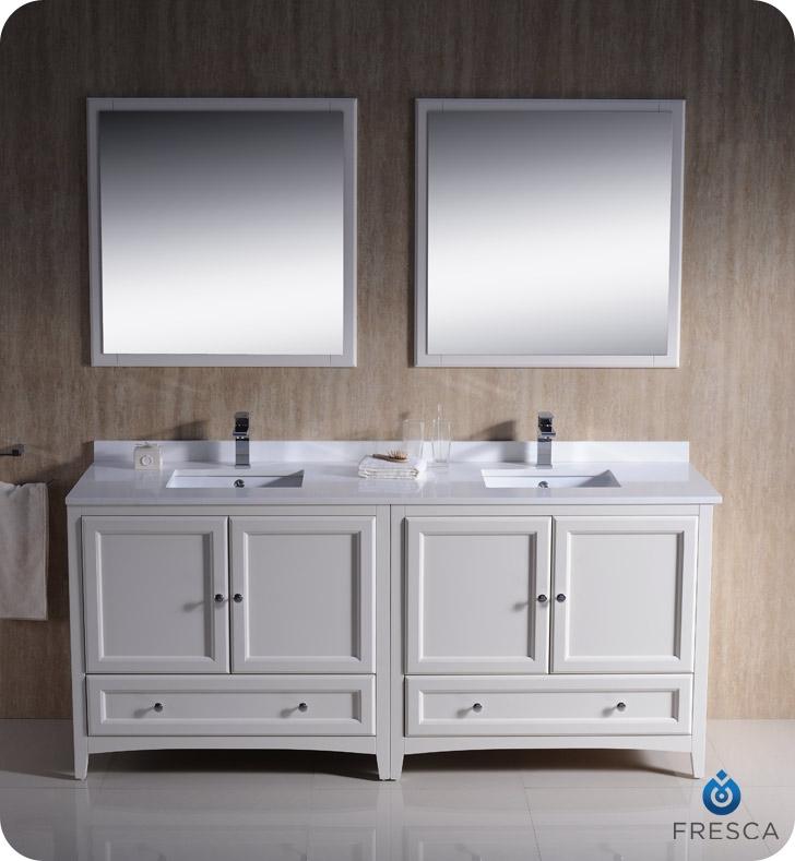 Fresca fcb20 3636aw cwh u oxford 72 antique white - Antique white double sink bathroom vanities ...