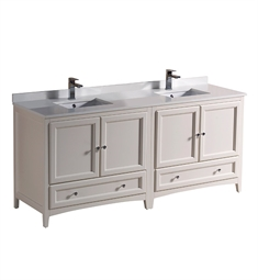 "Fresca FCB20-3636AW-U Oxford 72"" Antique White Traditional Double Sink Bathroom Cabinets with Top & Sinks"