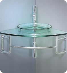 "Fresca FVN1040 Ordinato 34"" Corner Mount Modern Glass Bathroom Vanity"
