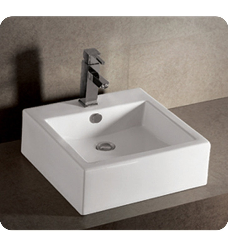 Whitehaus WHKN4051 Square Wall Mount Basin with Overflow and Rear Center Drain - Isabella Series